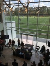 View of the lobby and fields from the 2nd floor