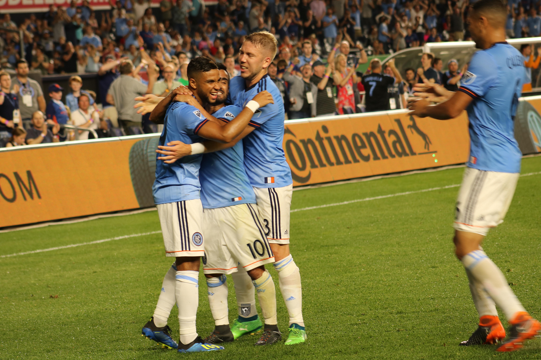 NYCFC celebrates Isi's second goal.