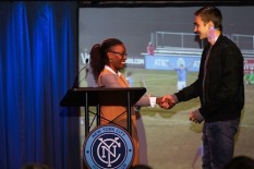 Honored to present the first award of the night to James Sands, who won Academy Moment of the Year for the penalty kick that gave the boys the Development Academy U-18/19 title. Congrats, @jamessands_16 #nycfc #nycfcawards #forthecity #makeithere