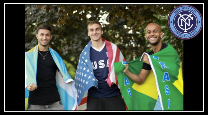 NYCFC players proudly show their 2019 world Cup colors